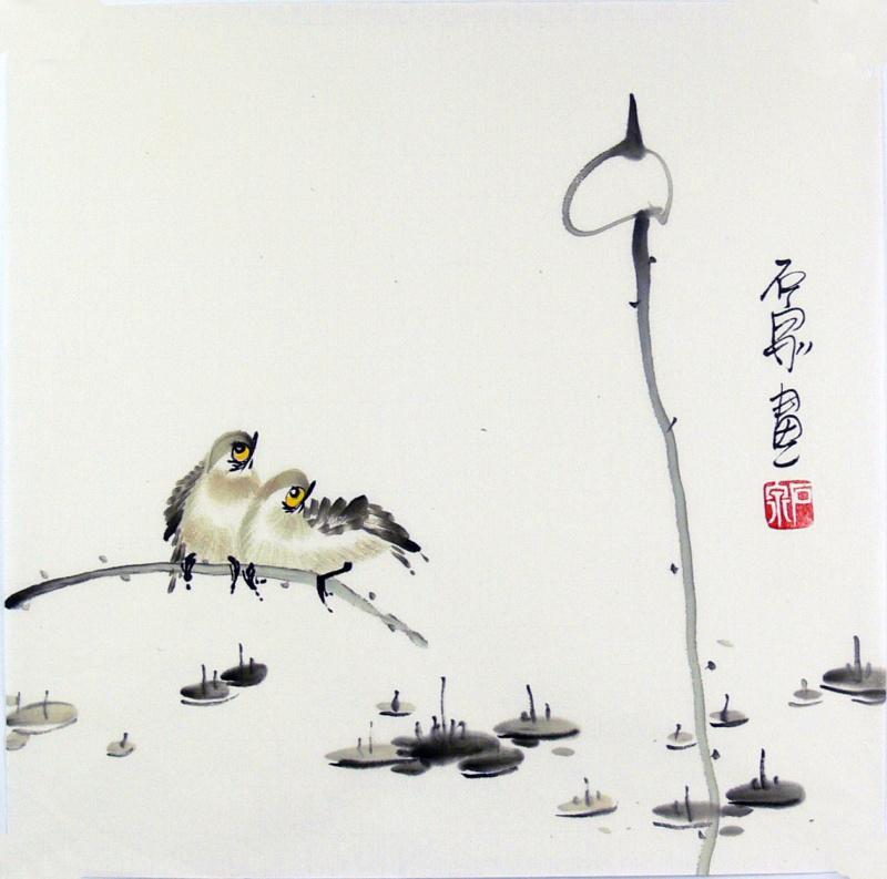 画家石泉 国画花鸟画小品 小尺寸20 荷花雀鸟,写意花鸟画,家庭装