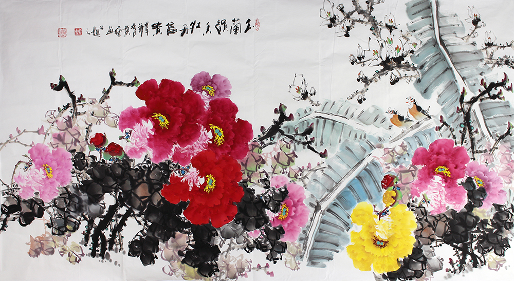 黄艺 国画牡丹 六尺横幅 长寿图牡丹富贵