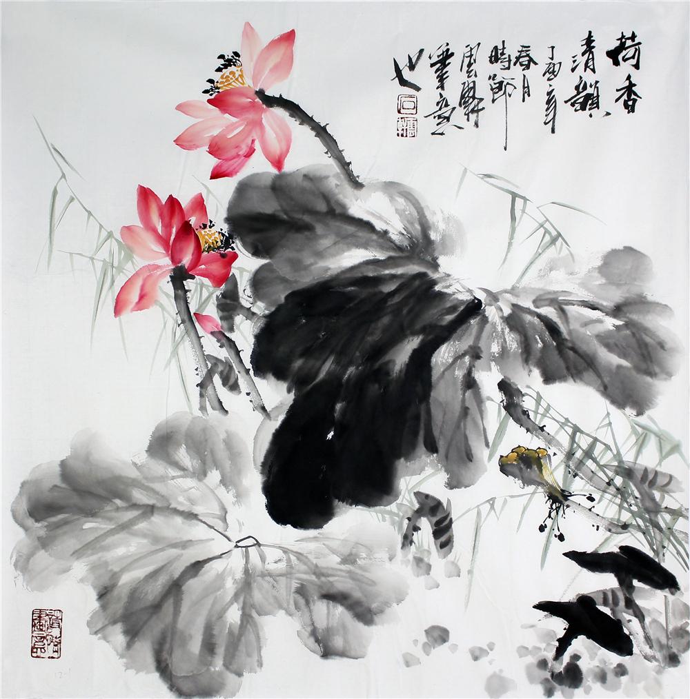 石云轩 国画写意花鸟画 四尺斗方 荷香清韵 荷花12 1
