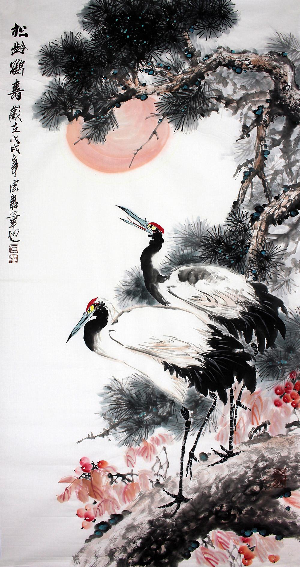 石云轩 国画写意花鸟画 四尺竖幅 松龄鹤寿 松树仙鹤12 2图片