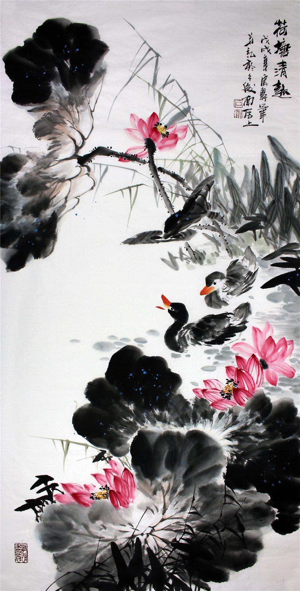 石云轩 国画写意花鸟画 四尺竖幅 荷塘清趣 荷花鸭子12 9