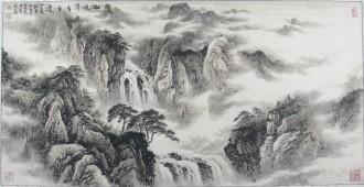 王翰霖 南京美院 国画山水画 四尺横幅《松泉清香自远》