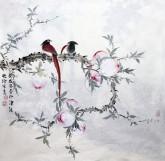 (已售,预订)隋晓玲(霍春阳 孙其峰亲传弟子)国画花鸟 四尺斗方 雀鸟 桃