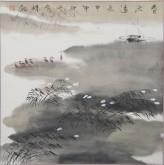 张哲珠(中国美协)国画山水画 斗方《春流远长》