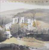张哲珠(中国美协)国画山水画 斗方《秋光先到野人家1》