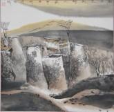 张哲珠(中国美协)国画山水画 斗方《秋光先到野人家2》