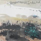 张哲珠(中国美协)国画山水画 斗方《溪涧》