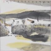 张哲珠(中国美协)国画山水画 斗方《秋韵3》