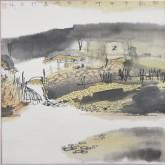 张哲珠(中国美协)国画山水画 斗方《秋韵2》