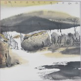张哲珠(中国美协)国画山水画 斗方《秋韵》