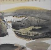 张哲珠(中国美协)国画山水画 斗方《秋韵1》