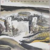 张哲珠(中国美协)国画山水画 斗方《秋光先到野人家》