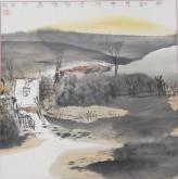 张哲珠(中国美协)国画山水画 斗方《秋韵4》