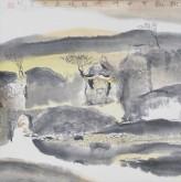 张哲珠(中国美协)国画山水画 斗方《秋韵5》