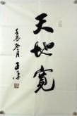 王平(青岛书协)四尺三裁行书法《天地宽》