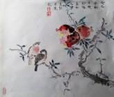 (已售,预订)隋晓玲(天津美院研究生)国画花鸟画 四平尺斗方 雀鸟 石榴