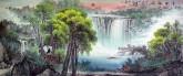(已售)沈州(河北美协)小八尺聚宝盆山水画《清塘鹤影1》仙鹤