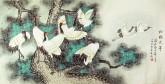 (已售)凌雪(中央美院)四尺横幅 国画工笔画《松鹤延年》九鹤图