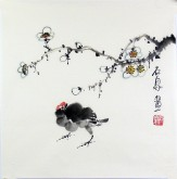 石泉 国画花鸟画小品 小尺寸10 梅花小鸡