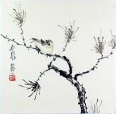 石泉 国画花鸟画小品 小尺寸18 松枝雀鸟