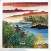 (已售)李洁(清华美院)国画山水画四尺斗方 江南风情系列《峡江帆影》