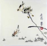 (已售)石泉 国画花鸟画小品 小尺寸27 荷花雀鸟鱼