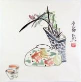 (已售)石泉 国画花鸟画小品 小尺寸16 兰花金鱼