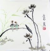 石泉 国画花鸟画小品 小尺寸15 荷花雀鸟