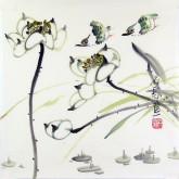 石泉 国画花鸟画小品 小尺寸24 荷花雀鸟