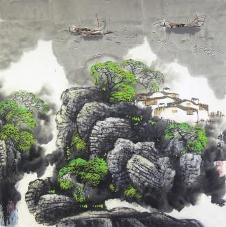 王振国 四尺斗方4 国画山水画