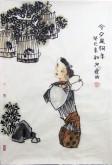 郭连成 国画人物画 小尺寸四尺三开《今夕是何年》