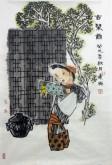 郭连成 国画人物画 小尺寸四尺三开《古琴图》