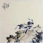 (已售)李大庆(中国美协会员)国画花鸟画 精品小尺寸 双雀鸟