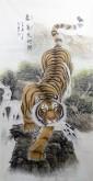 戴长国 国画动物画 四尺竖幅 下山虎《豪气天地间》