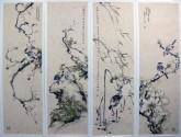 (已售)李大庆(中国美协会员)国画花鸟精品四条屏(小尺寸)