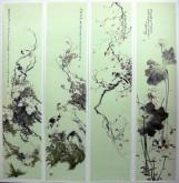 (已售)李大庆(中国美协会员)国画花鸟精品四条屏