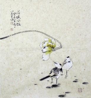 李大庆国画花鸟画荷花