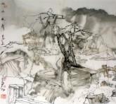 (已售)陆天宁(中国美协)国画山水画 四尺斗方《秋水无声》