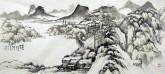 李杜 国画山水画 四尺横幅《溪山秋静图》