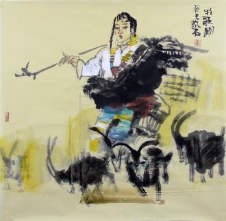 张散石 国画人物画 四尺斗方《牧歌图》