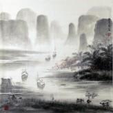 (已售)华卧石 国画山水画 四尺斗方1