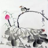(已售)石泉 国画花鸟画小品 小尺寸斗方荷花 3-2