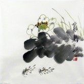 石泉 国画花鸟画小品 小尺寸 荷花鱼3-6