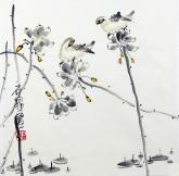 石泉 国画花鸟画小品 小尺寸3-7 荷花雀鸟