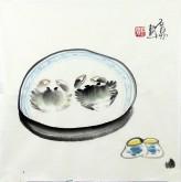 (已售)石泉 国画花鸟画小品《螃蟹》小尺寸斗方3-1