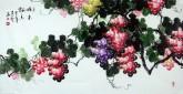 黄艺 国画葡萄 四尺横幅《硕果飘香》