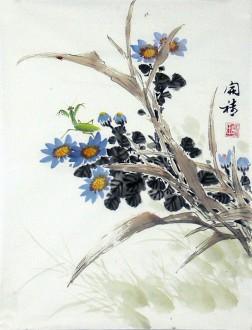 胡开喜 国画写意花鸟画  小尺寸 蓝花螳螂10