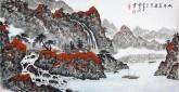 (已售)蓝国强 四尺横幅 国画山水画《秋清泉气香》