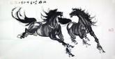何红(湖北美协)四尺横幅 国画双骏马图《双雄》