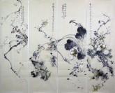 李大庆(中国美协会员)国画花鸟精品四条屏(中)